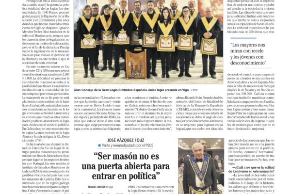 40 años de la legalización de la masonería, en el Faro de Vigo